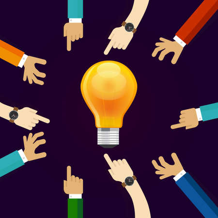 idea lamp: many hands working together for an idea. a bulb lamp shine. concept of teamwork collaboration and participation in business creativity and innovation