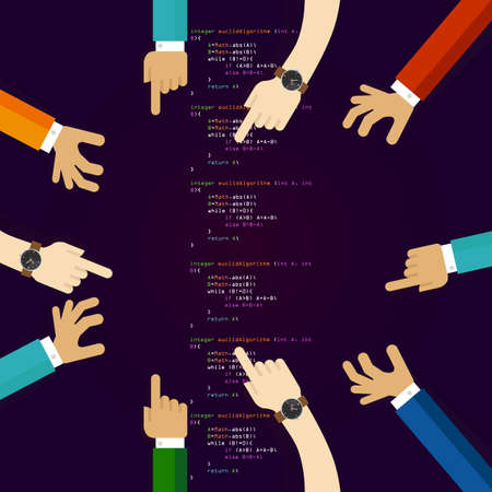 open source software coding programming development together. many hands working together. concept of teamwork collaboration and participation