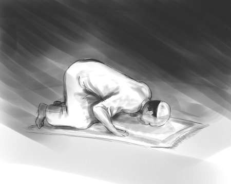 ink sketch: muslim man do shalat, Islam prayer activity, illustration in sketch hand drawing ink style