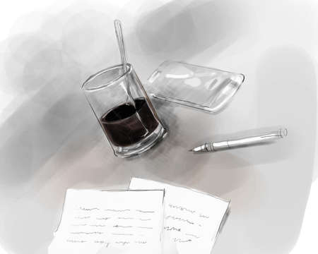 author: writer author desk writing pen on paper with glass of black coffee and mobile phone