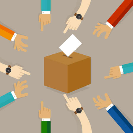 voters: voting or polling election. people cast their vote insert paper their choice into the box. concept of participation togetherness on decision making