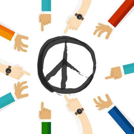 Frieden Konfliktlösung Symbol der internationalen Bemühungen zusammen Zusammenarbeit in Gemeinschaft und Toleranz Standard-Bild - 75572619
