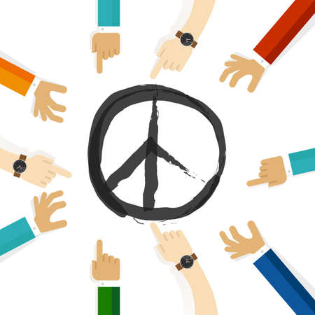 peace conflict resolution symbol of international effort together cooperation in community and tolerance Çizim