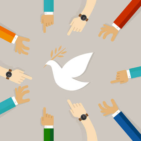 peace conflict resolution symbol of international effort together to fly white pigeon