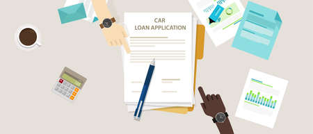 signing papers: car loan application form submission document paper work