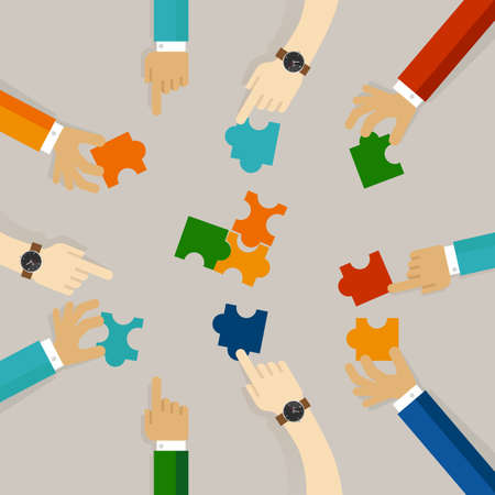 puzzle business: Team work hand holding pieces of jigsaw puzzle trying to solve problem together business concept of synergy in flat illustration