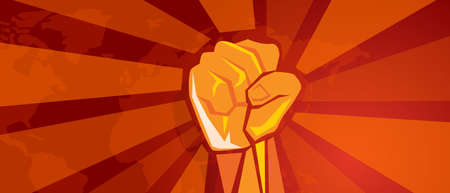 hand fist revolution symbol of resistance fight aggressive retro communism propaganda poster style in red with world map background Vettoriali