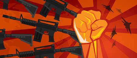 arm military revolution fist hand symbol retro communism propaganda poster style