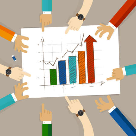 pointing hand: bar chart increase team work on paper looking to hand drawing business concept of planning hands pointing collaboration group in office