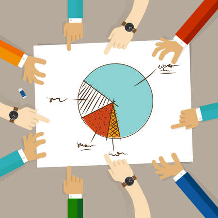 team hands: Pie chart team work on paper looking to business concept of planning hands pointing collaboration group in office