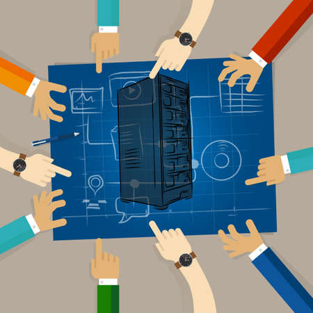 server technology: Server technology infrastructure web hosting hardware planning sharing team work on paper looking to blue print concept of planning hands pointing collaboration group in office Illustration
