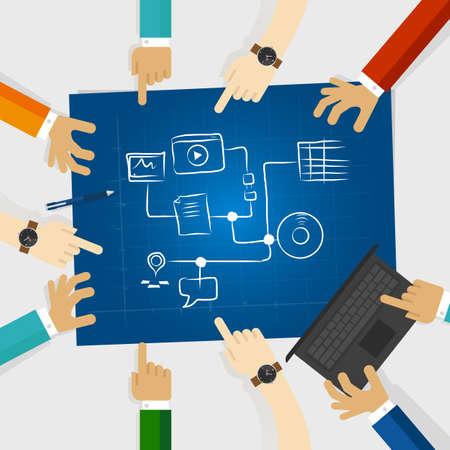 mobile website: team create plan for social media and digital marketing online strategy in a blue print sketch internet technology Illustration