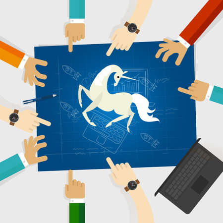 Unicorn start-up tech company hands pointing white horse around the blue print with sketch drawing vector Ilustração