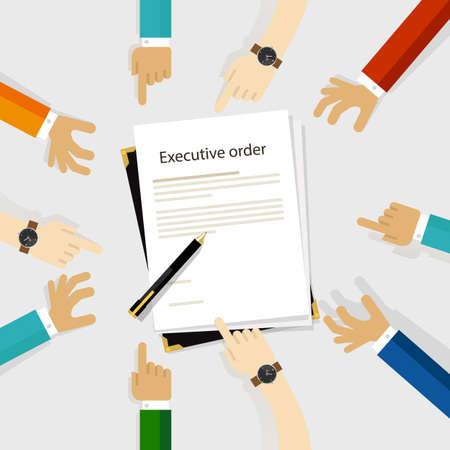 ejecutivo orden presidente autoridad papel y pluma de reglamentación para ser firmado diversidad participación manos alrededor Ilustración de vector