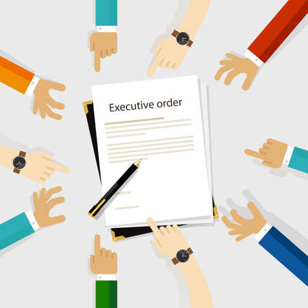 executive order president authority regulation paper and pen to be signed diversity participation hands around Иллюстрация