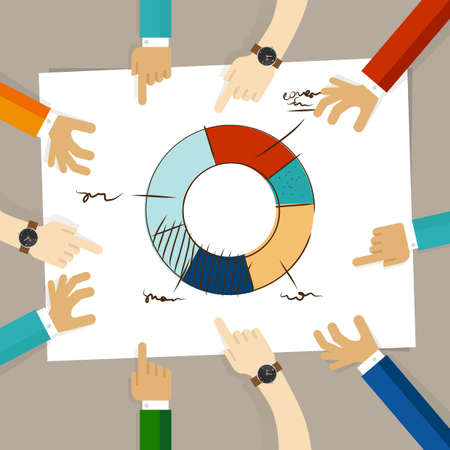 team hands: doughnut circle chart hand drawing sketch analysis. team member together working discuss in a meeting hands pointing to paper