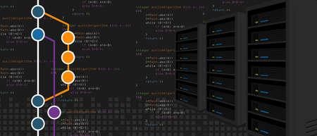 Git-repositories software subversie back-upserverproces bij programmeren en coderen met mijlpaaltak