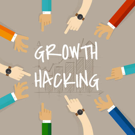 growth hacking business method concept of using their knowledge of product and distribution, find ingenious, technology-based solution Иллюстрация