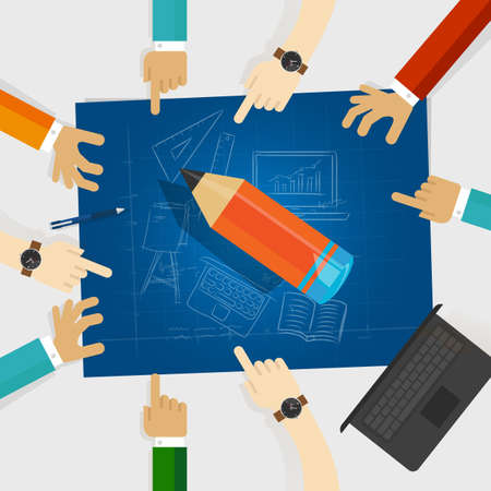 education developing idea together make plan. teamwork in business and education. big wooden pencil with hands around it and blueprint with sketch hand drawing vector Stock Photo