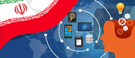 Iran information technology digital infrastructure connecting business data via internet network using computer software an electronic innovation Illustration