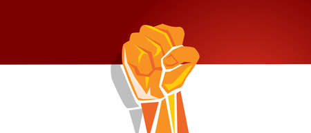 Indonesia independence day hand fist arm flag red white