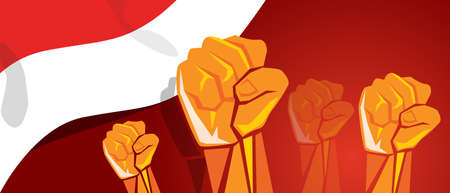movement together independence day hand fist arm Indonesia flag red white Stock Illustratie