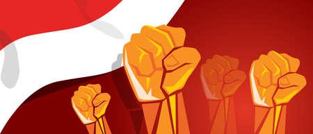 Verkeer samen onafhankelijkheidsdag hand vuist arm Indonesië vlag rood wit Stockfoto - 83080584