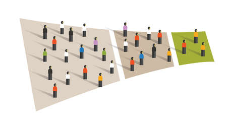 people crowd funnel flow conversion group graphic sampling
