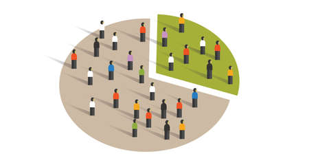 people crowd pie chart group graphic sampling statistics