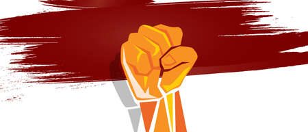 Indonesia independence hand fist in with flag concept illustration of nationalism patriotism Stock Photo
