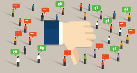 social gathering: dislike thumbs down social media crowd people society communication internet bad review vector