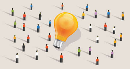 ides: Crowdfunding crowd-sourcing big ides bulb community of people together standing together