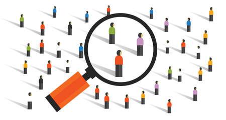Les comportements de foule mesurant les statistiques d'échantillonnage social expérimentent la recherche démographique de la société Vecteurs