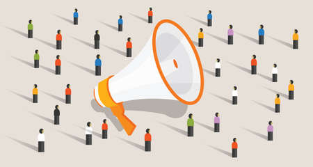 Mass marketing communication to group of people loudspeaker public advertisement announcement Illustration