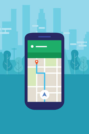 gps device: mobile phone navigation map into city screen smart-phone application vector travel Illustration