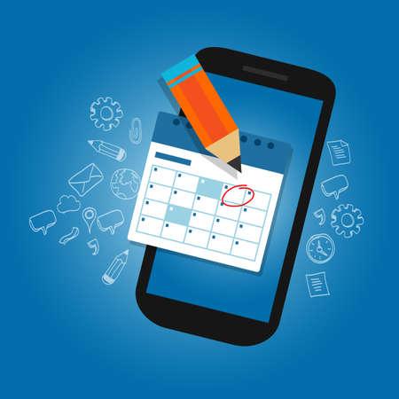 Kalenderkalender Zeitplan auf dem mobilen Smartphone-Gerät wichtige Termine Erinnerung Zeitplaner Plan Vektorgrafik