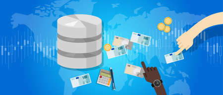 Big data monetization selling database pay with money for storage world online block chain vector.