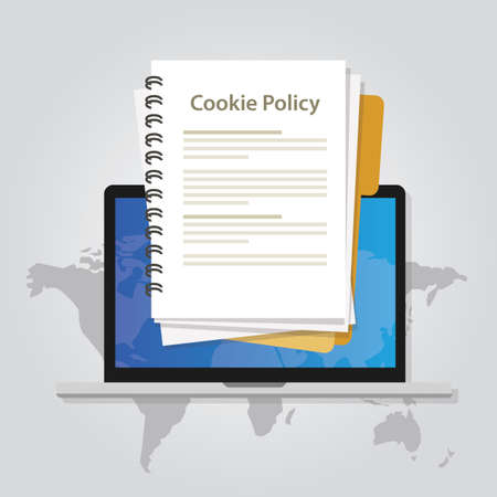 Cookie policy information privacy in website verzamelen van gegevens van bezoekersvector Stockfoto - 83752285