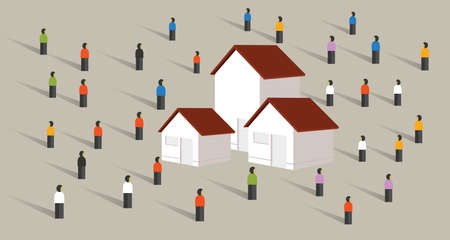 Affordable housing for mortgage surrounded by people.