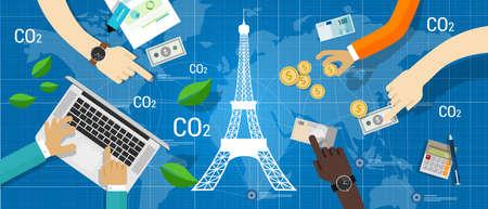 Paris agreement climate accord carbon emission reduction global Zdjęcie Seryjne - 83948202