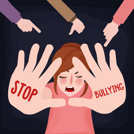 Stop bullying child abuse girl sad victim scared woman with hand sign Vectores