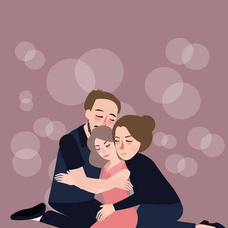 Familie knuffelzorg vader moeder aan hun dochter vergeving depressie verdriet mededogen verlies en wanhoop