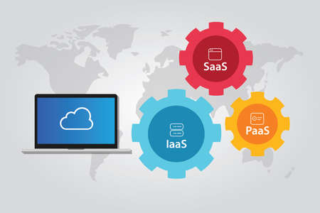 SaaS プラットフォーム インフラストラクチャ ・ ソフトウェアの IaaS ・ PaaS のサービスのベクトルとしてクラウド スタックの組み合わせ  イラスト・ベクター素材