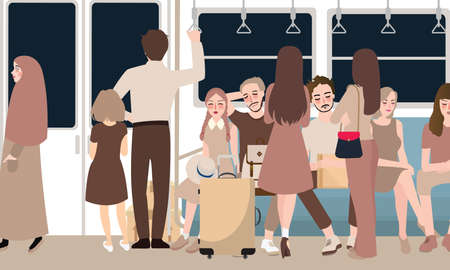 inside busy train full of passenger commuter standing and sitting people using public transportation in rush hour male and female vector cartoon illustration