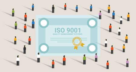 ISO 9001 Qualitätsmanagement-Systeme Zertifizierungsstandard internationale Compliance gemeinsam erreichen Führung Vektorgrafik