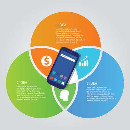 modèle de technologie de technologie de téléphone mobile de communication de communication de la technologie de la technologie multiples de cercle full Vecteurs