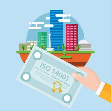 ISO 14001 milieubeheersysteem certificering standaard conformiteit Stockfoto - 84958167