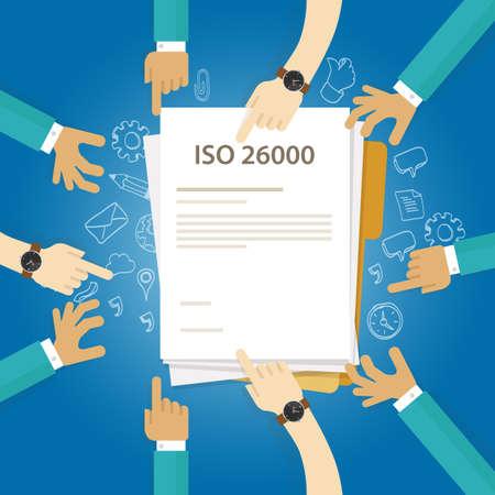ISO 26000 sociale verantwoordelijkheidsnormen zakelijke naleving van het internationale controleauditdocument