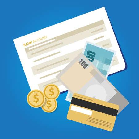 Rachunek bankowy wyciąg z książki pieniądze papierowe oszczędności finansowe inwestują obiekt wektorowy gotówki Ilustracje wektorowe