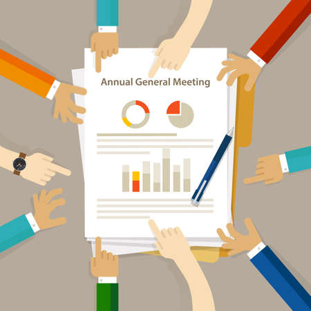 AGM Annual General Meeting shareholder board discuss company review financial profit chart hand collaboration on paper Stock fotó - 85421125